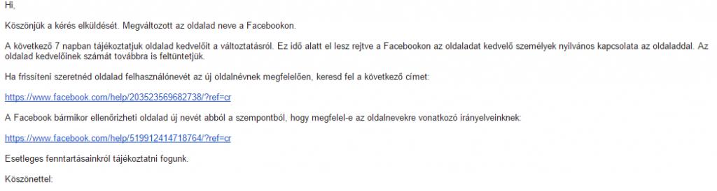 FB visszaigazolás mail